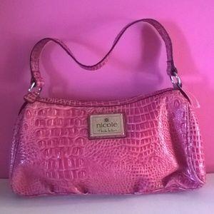 nicole miller purse pink satchel zip top womens